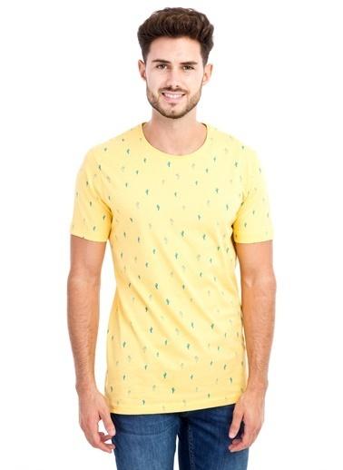 Kiğılı Bisiklet Yaka Desenli Slim Fit Tişört Sarı